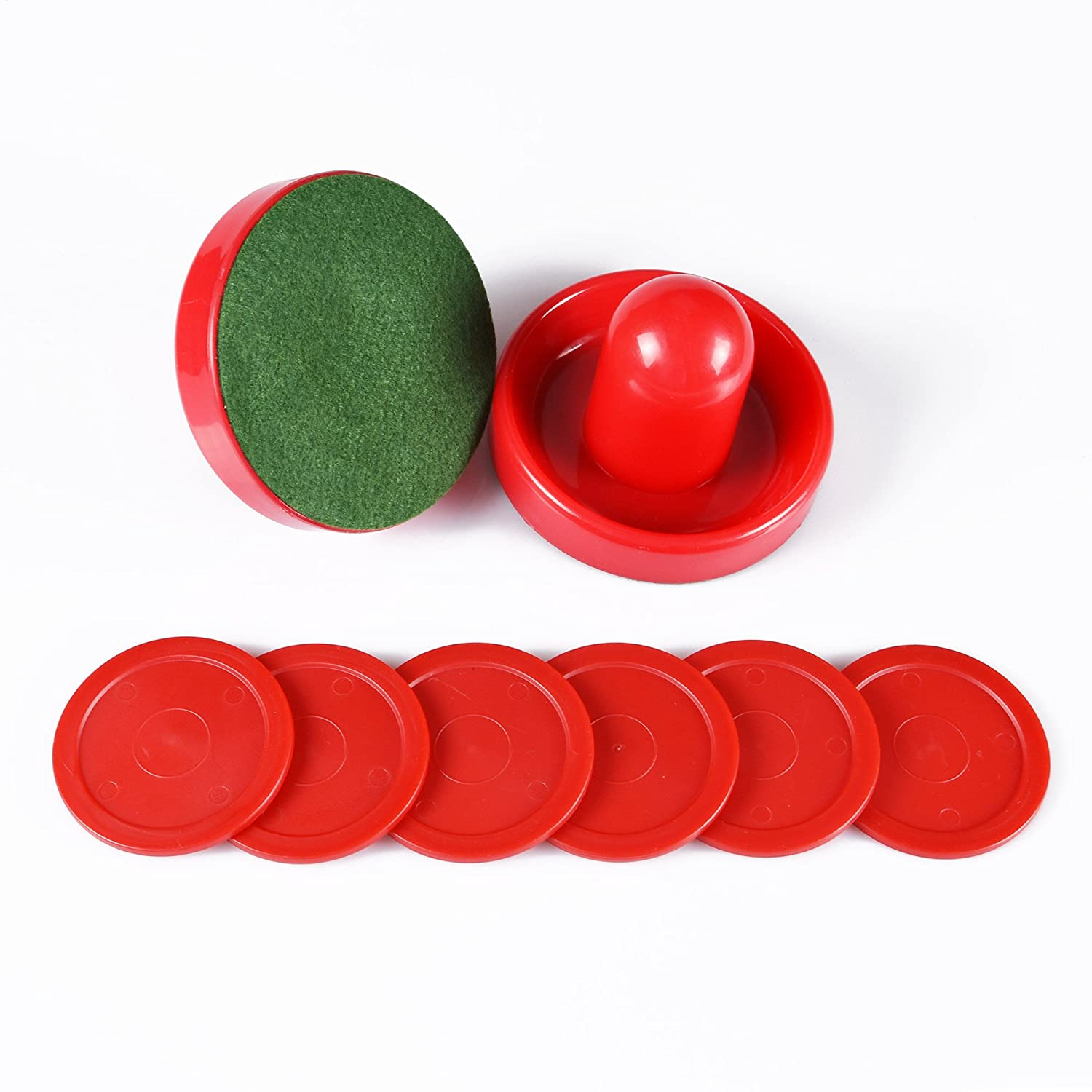 Goal Handles Paddles Replacement Accessories for Game Tables 4 Striker, 4 Puck Pack ONE250 Air Hockey Pushers and Red Air Hockey Pucks