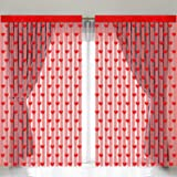 URATOT 4 Pieces Valentine's Day Window Curtains Romantic Red Hearts Shaped Lace Curtains Window for Valentine's Day Wedding P