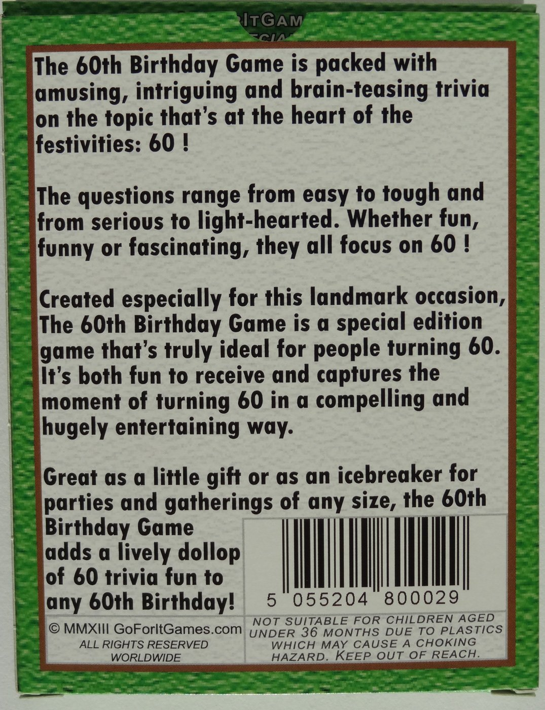 amazon com the 60th birthday game fun new 60th birthday party game