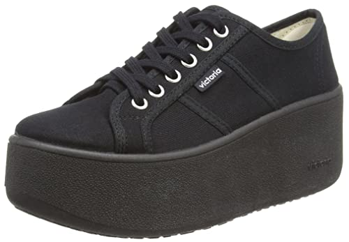 Victoria Basket Lona Plataforma Negra, Unisex Adults Low-Top, Black (Negro