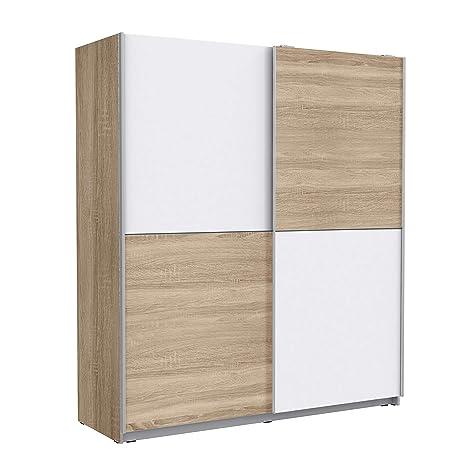 Newface Schwebeturenschrank Mit 2 Turen Holzwerkstoff Sonoma Eiche Dekor Weiss 170 3 X 61 2 X 190 5 Cm