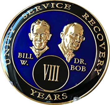8 Year AA Founders Purple Tri-Plate Medallion Bill /& Bob Sobriety Chip Eight