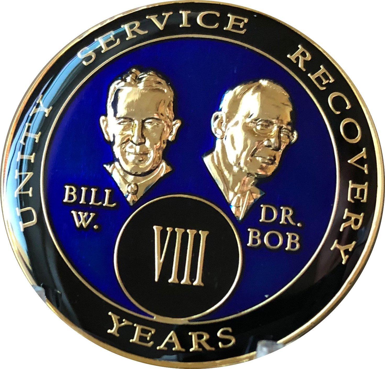 8 Year Founders Blue Tri-Plate AA Medallion Bill & Bob Chip VIII