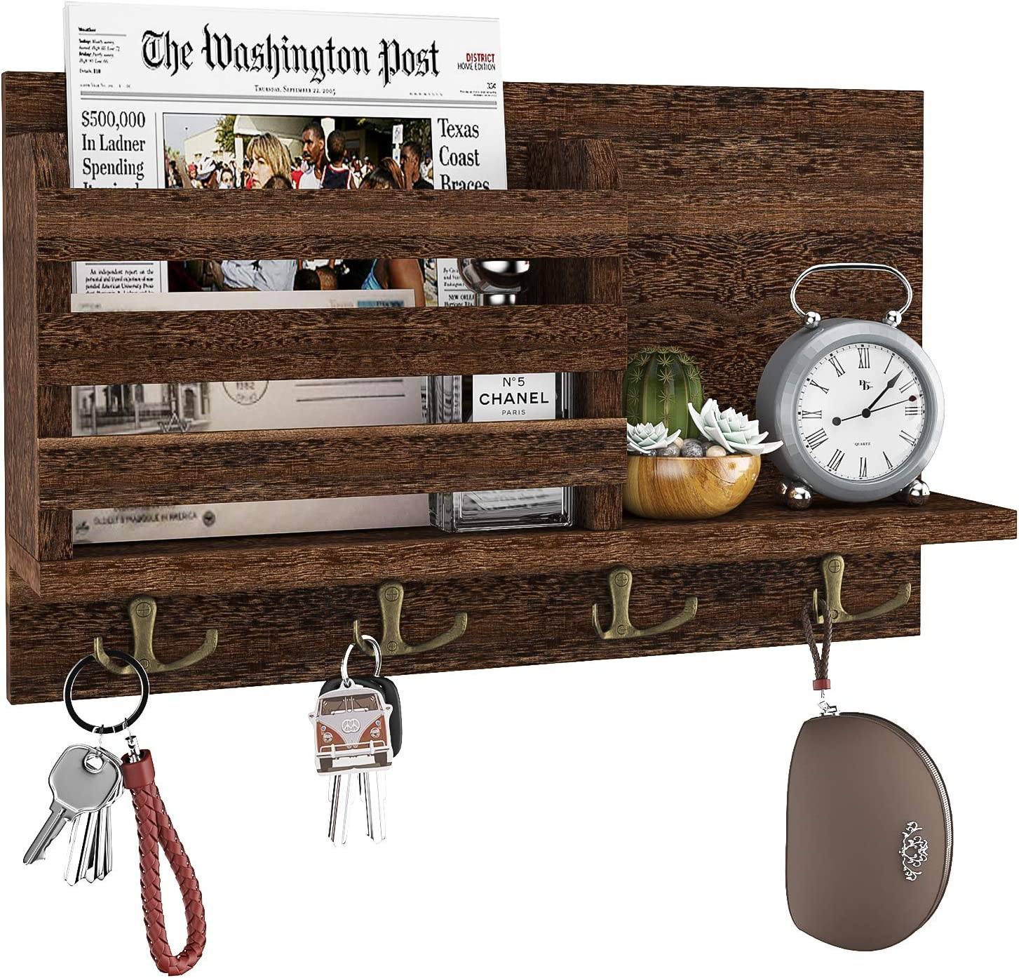 Home Storage Hooks Wall Decorative Key Rack Hangers For Entryway Living Room Brown Hallway Office Key Holder For Wall Wooden Wall Mounted Mail Sorter Organizer With 4 Double Key Hooks A