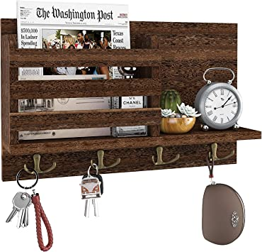 Key Organizer Wall Mounted Wooden Key Hanger Key Holder for Wall Decorative Hallway Perfect Home Decor for Entryway Rustic Key Rack with 4 Key Hooks and 3 Floating Shelf Vintage Wall Key Holder