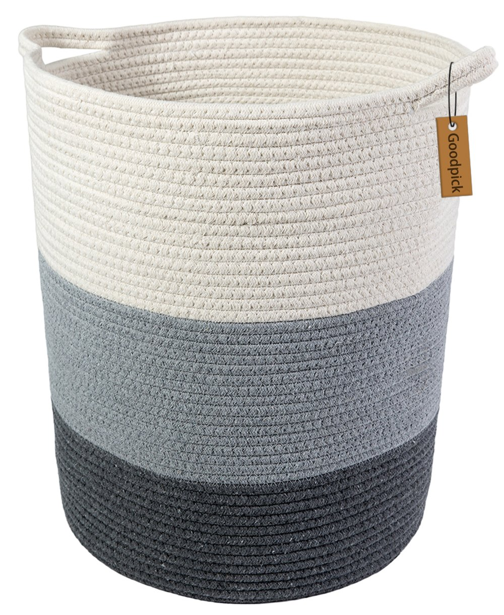 Goodpick 18.8'' x 17.7'' x 13.8'' Extra Large Cotton Rope Basket - Woven Baskets - Cotton Thread Nursery Storage Bins - Laundry Basket - Baby Toy Storage-Home Storage Containers