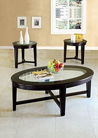 ACME Kort Espresso Coffee End Table Set 3 Piece