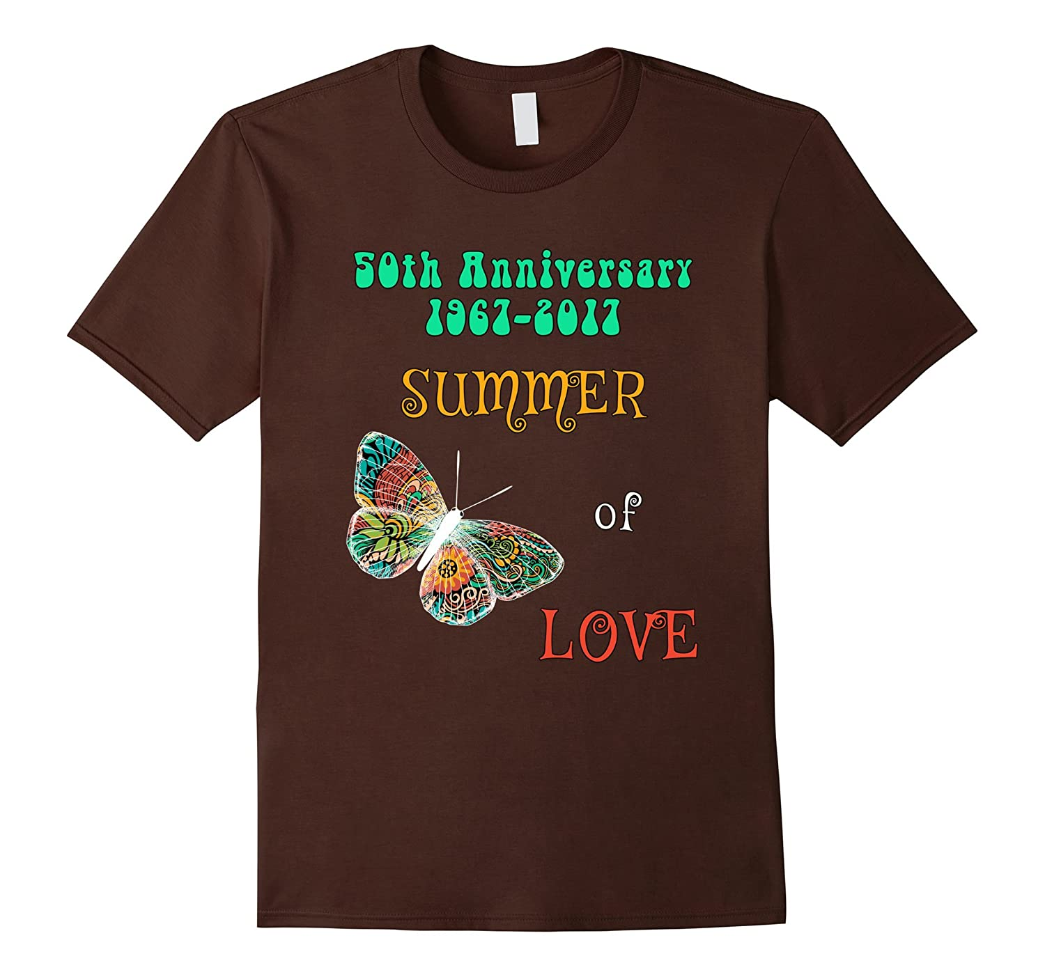 50th Anniversary Summer Love Colorful Hippie Butterfly Tee-Art