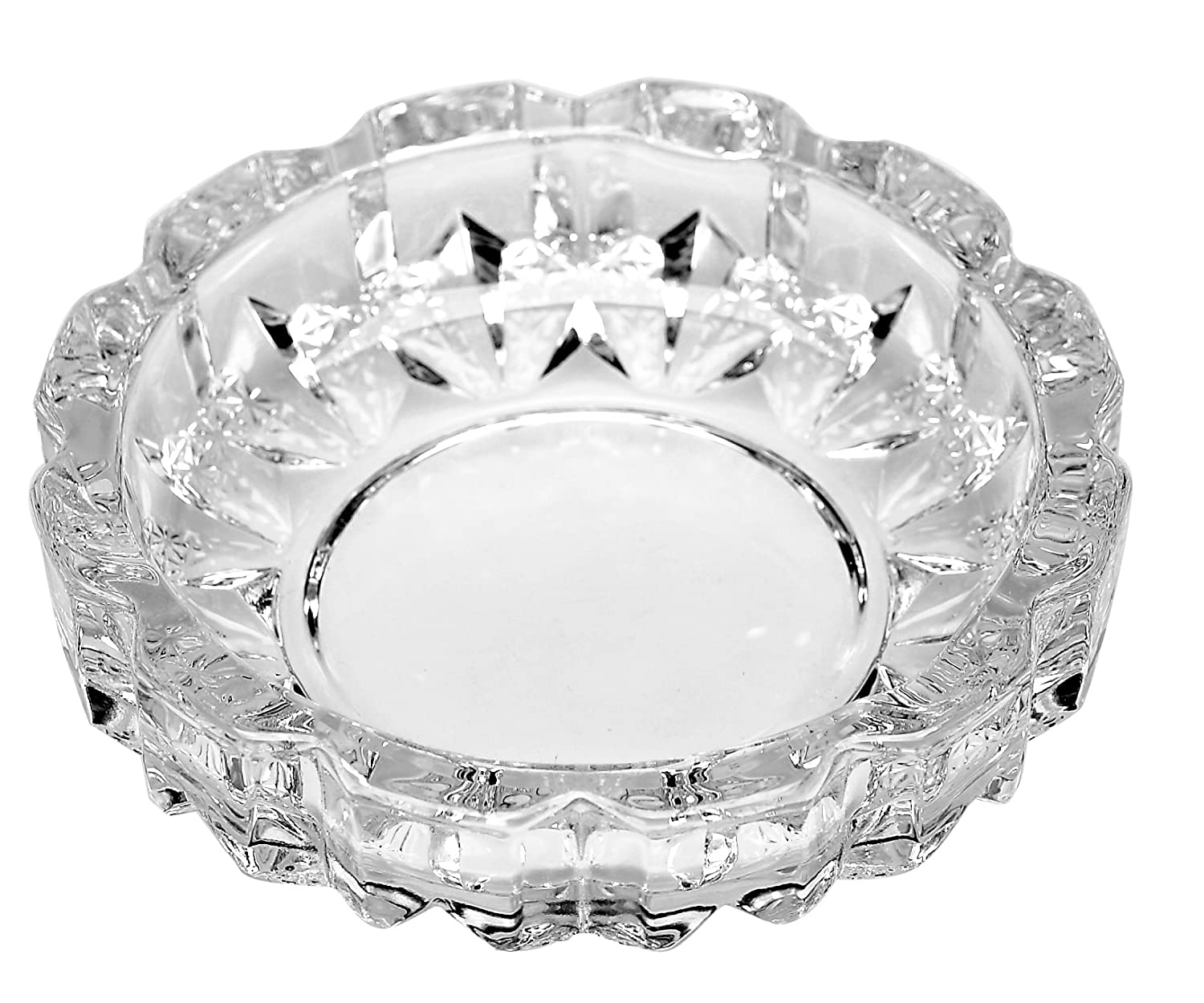 ALL FOR YOU Deli Green Apple Crystal Heavy Glass Ashtray for Indoor and Outdoor Decorative (Round) 2049R
