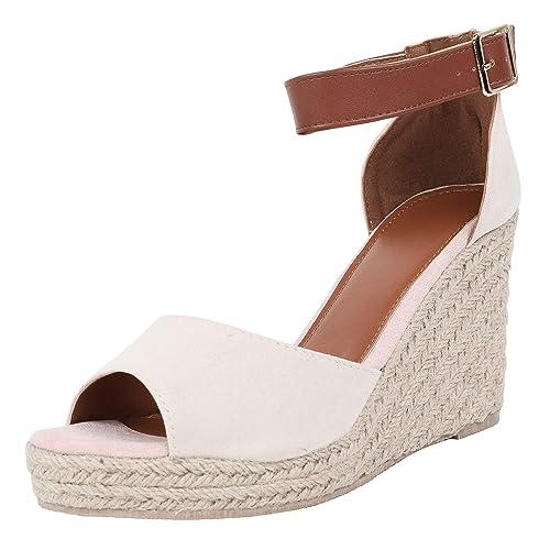 395984cbea283 Liyuandian Womens Ruffle Wedge Espadrille Open Toe Sandals Ankle Strap  Platform Summer High Heel Shoes