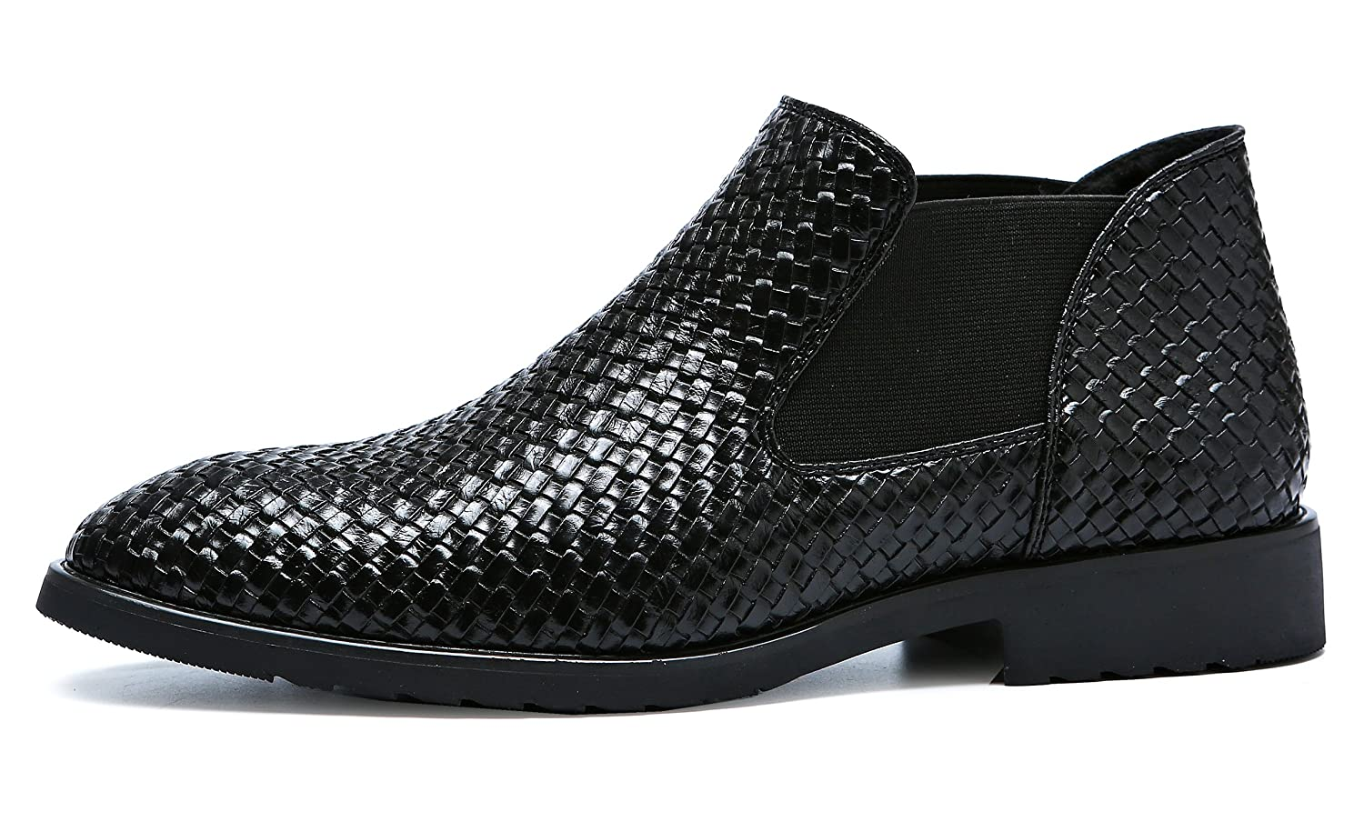 Amazon.com | Santimon Chelsea Boots Men Patent Leather Weave Slip on Outdoor Formal Dress Casual Ankle Shoes | Chelsea