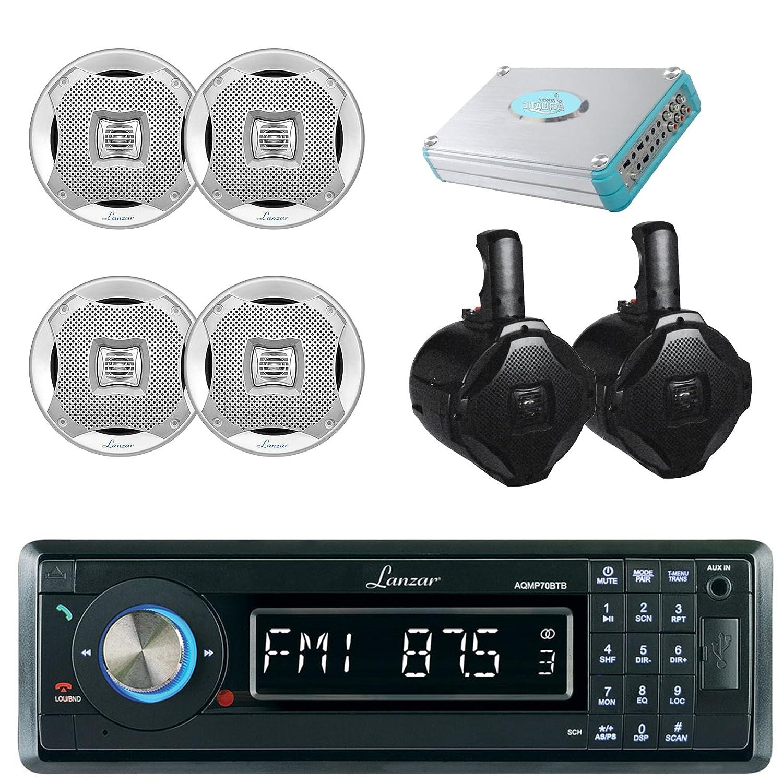 Lanzar aqmp70btb単一DIN In Dash Bluetooth AUX USB MMC SD mp3ボート受信機、4 x Lanzar aq5cxs 5.25
