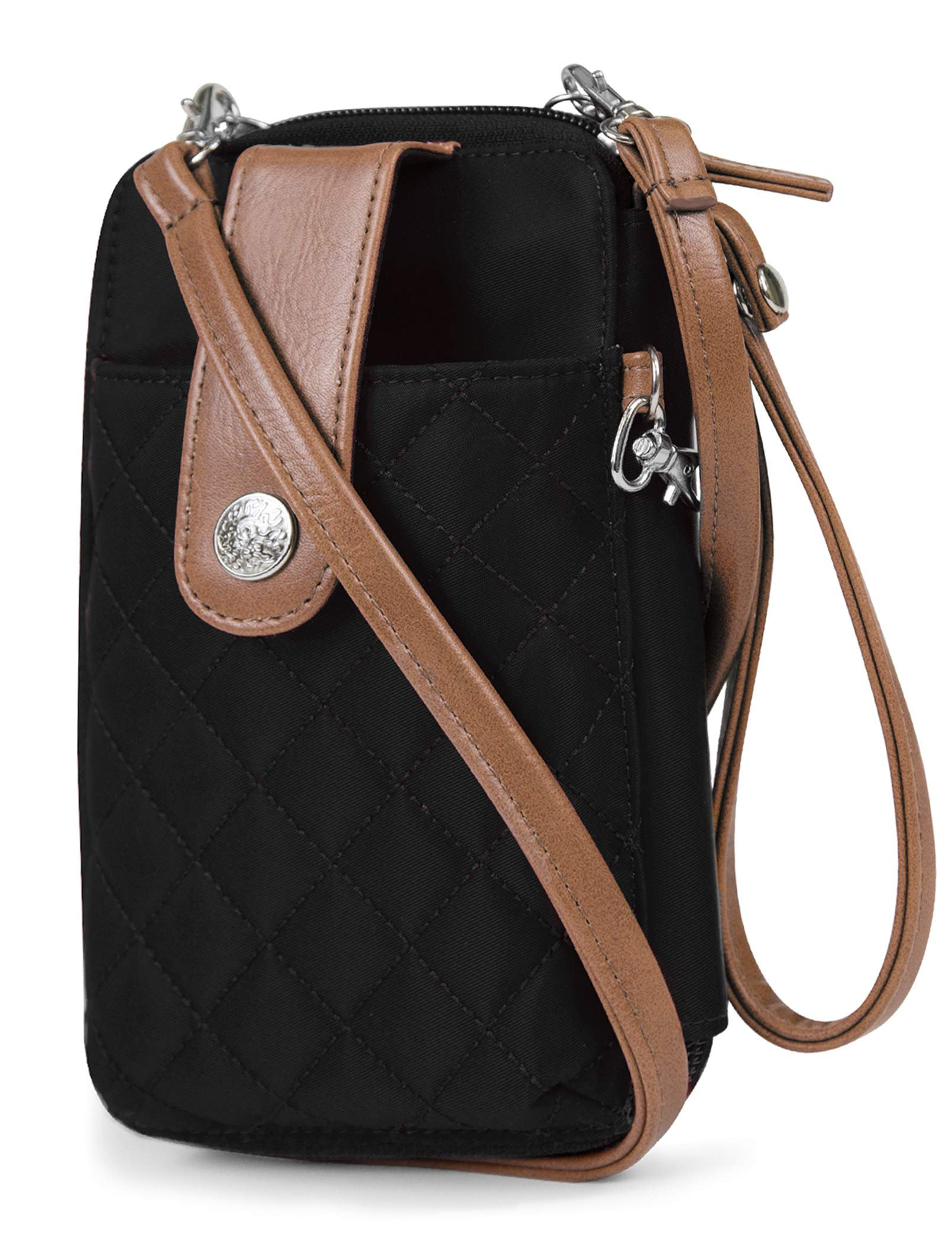 MUNDI Jacqui Vegan Leather RFID Womens Crossbody Cell Phone Purse Holder Wallet (Black Nylon) by Mundi