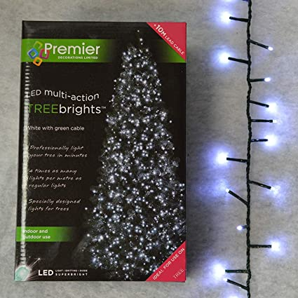 1 000 Led 25 Meters Of Lit Length Premier Treebrights Cluster Christmas Tree Lights In Cool White