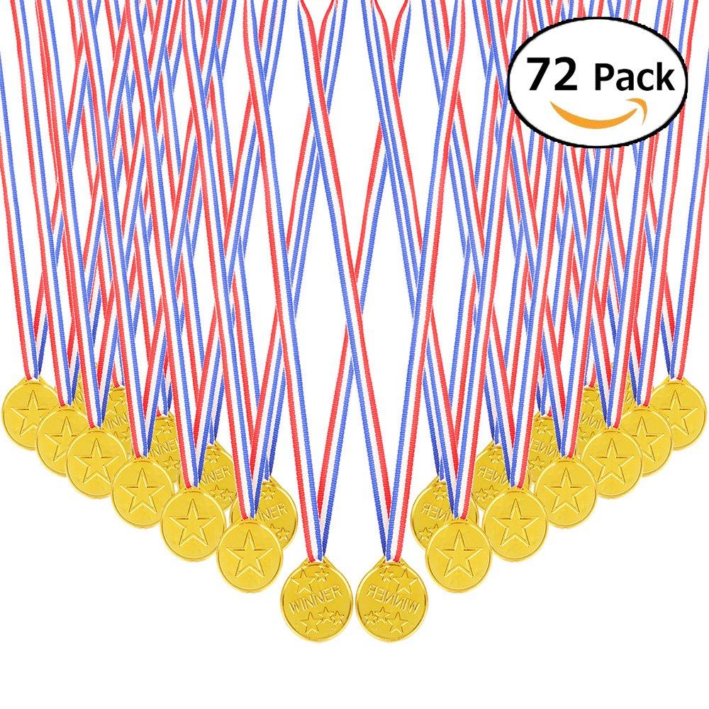 InnoBase 72 Piezas Niños Winner Medals medallas de Oro ganadoras de plástico Party Bag Fillers Juegos de Juguete Decoración para Fiesta, Recompensa, Niños Fiesta Deportiva, Competencia