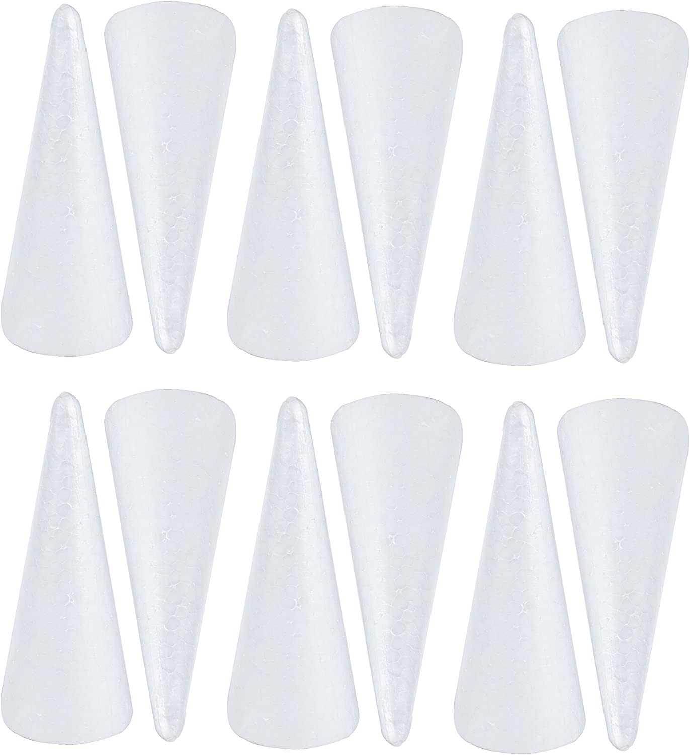 Bright Creations Foam Cones Arts and Crafts Supplies White, 5.25 x 14.5 in, 2 Pack