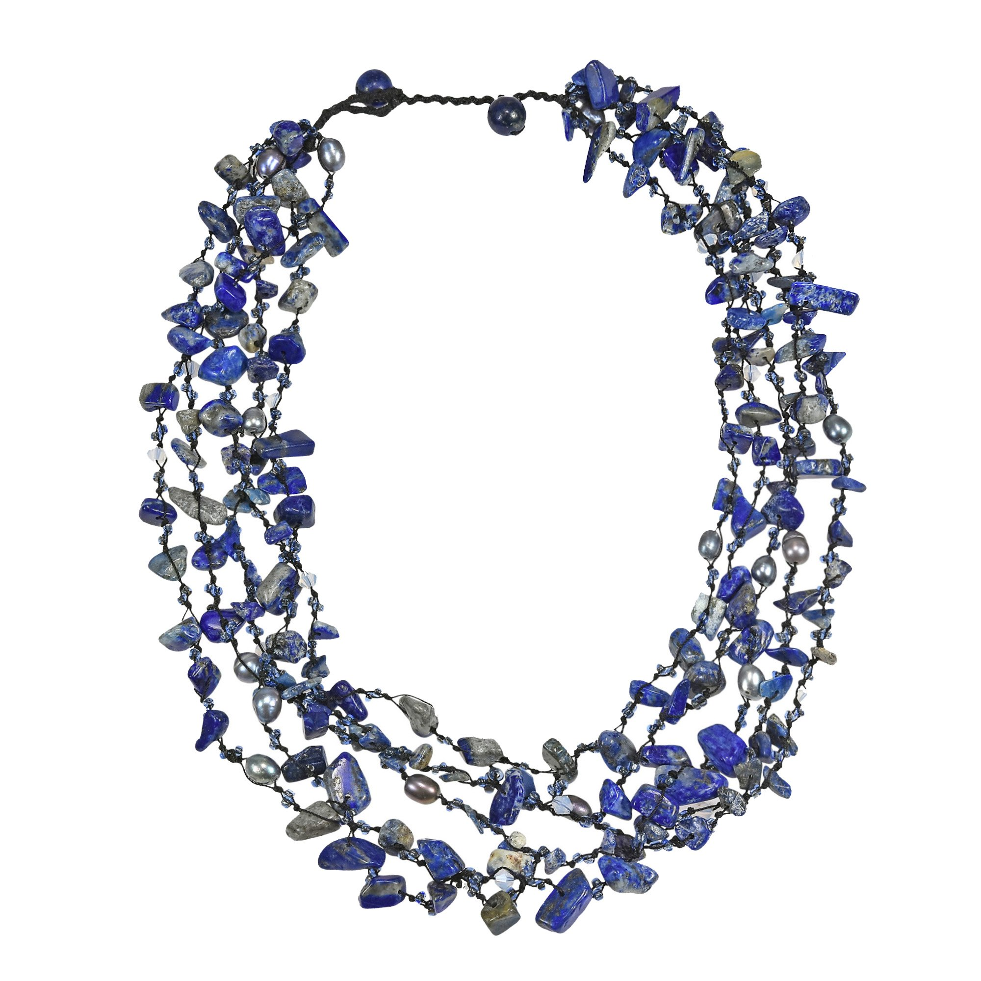 AeraVida Sea Simulated Blue Lapis-Lazuli Five-Layer Beauty Cotton Wax Rope Strand Necklace