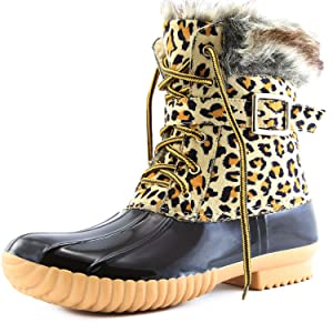 Women's DailyShoes Snow Booties Lace Up Ankle Buckle Duck Padded Mud Rubber Rain boots,7 B(M) US,Leopard