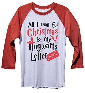 funny threadz christmas harry potter baseball tee all i want for christmas is my hogwarts
