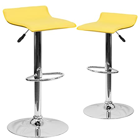 Flash Furniture 2-Pack Contemporary Vinyl Adjustable Height Bar Stool with Chrome Base, 34-Inch, Yellow