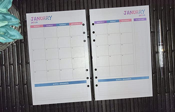 picture relating to Planner Refills known as : 2018 2019 2020 Month-to-month A5 Planner Inserts, Paper