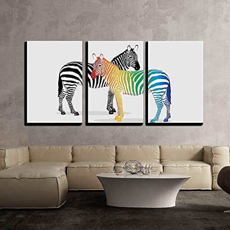 Modern Home Decor Stretched and Framed Ready to Hang Zebras with Multi-Colored Strips wall26 3 Piece Canvas Wall Art