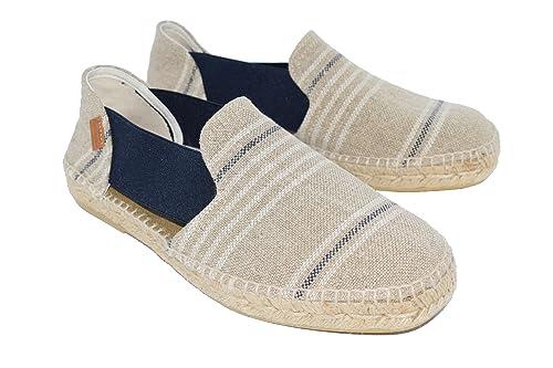 Alpargatas Hombre H18 Rallas Hugo Blancas y Azules H673: Amazon.es: Zapatos y complementos