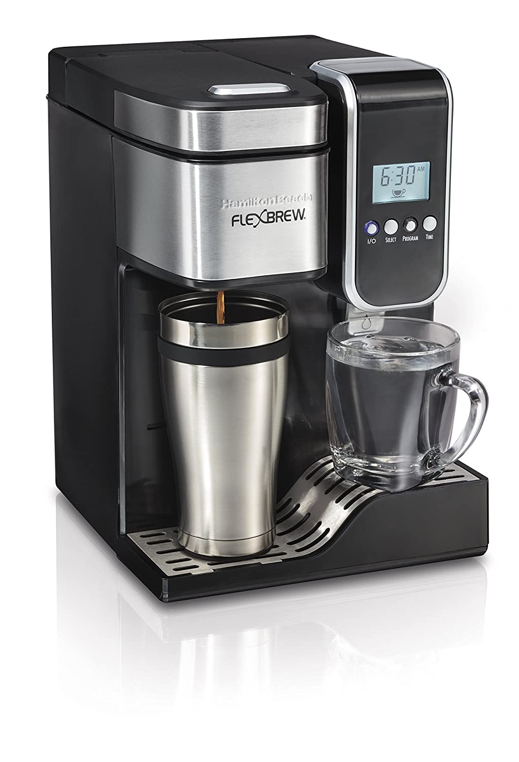 Hamilton Beach Single-Serve Coffee Maker, Programmable FlexBrew with Hot Water Dispenser (49988)