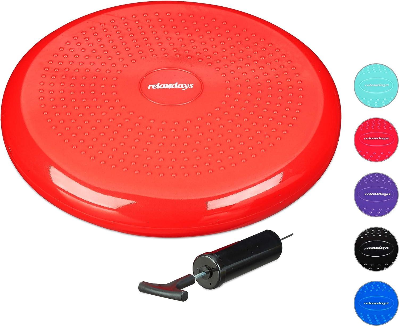 Picots 33 cm Pompe /à air Balance Fitness Coussin Disque d/'/équilibre Rouge Relaxdays D/'air D/'/équilibre