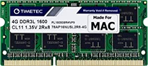 Timetec Hynix IC 4GB Compatible for Apple DDR3L 1600MHz PC3L-12800 for MacBook Pro (Early/Late 2011,Mid 2012), iMac(Mid 2011,Late 2012,Early/Late 2013,Late 2014,Mid 2015), Mac Mini(Mid 2011,Late 2012)
