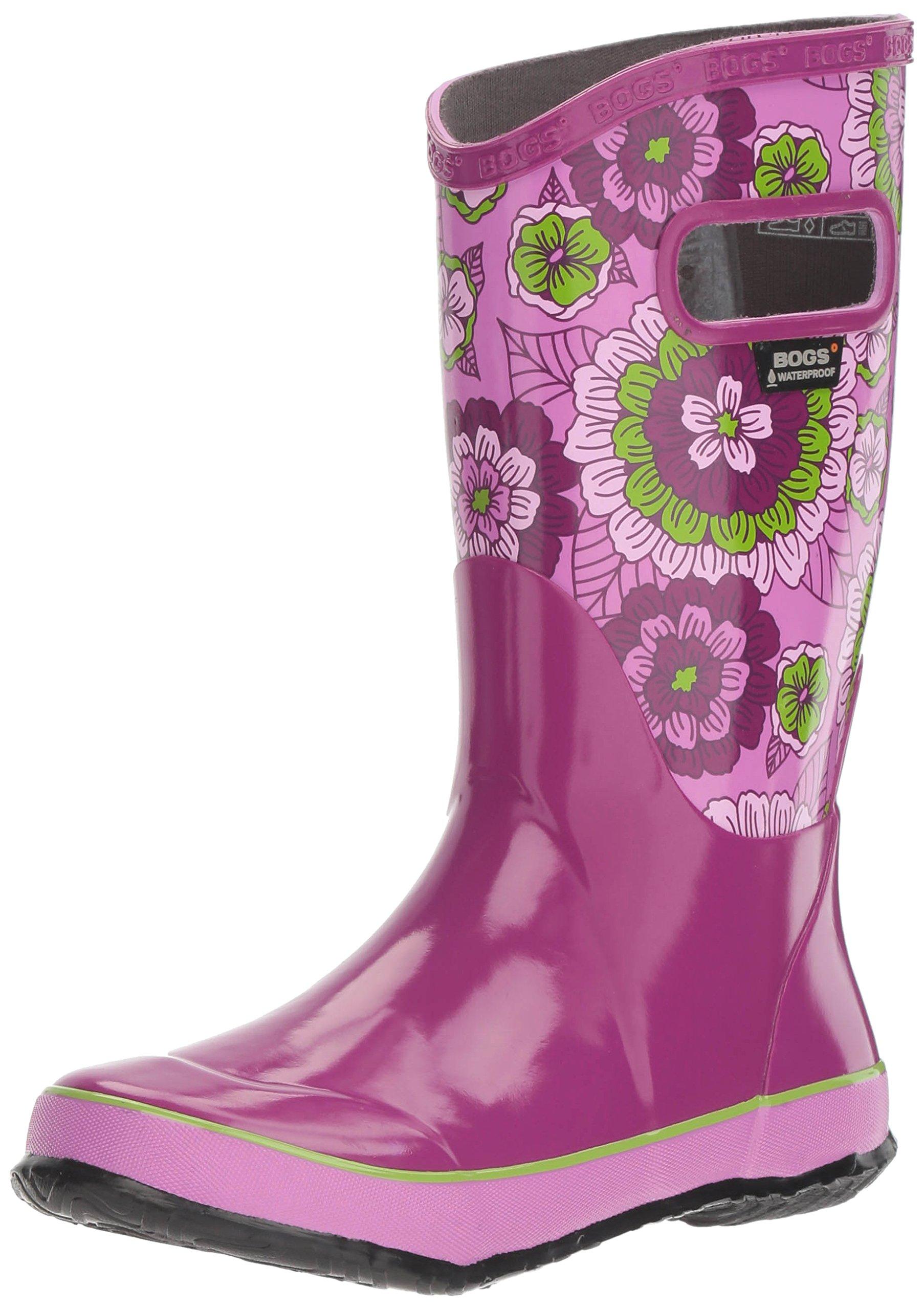 Bogs Kid's Rubber Waterproof Rain Boot Boys Girls, Pansies Print/Berry/Multi, 7 M US Toddler