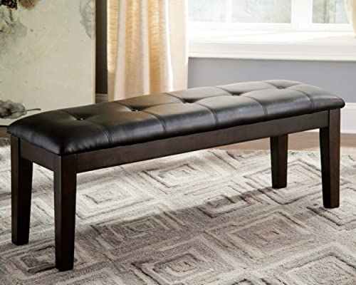 Signature Design by Ashley – Haddigan Upholstered Dining Room Bench – Casual Tufted Seating – Dark Brown