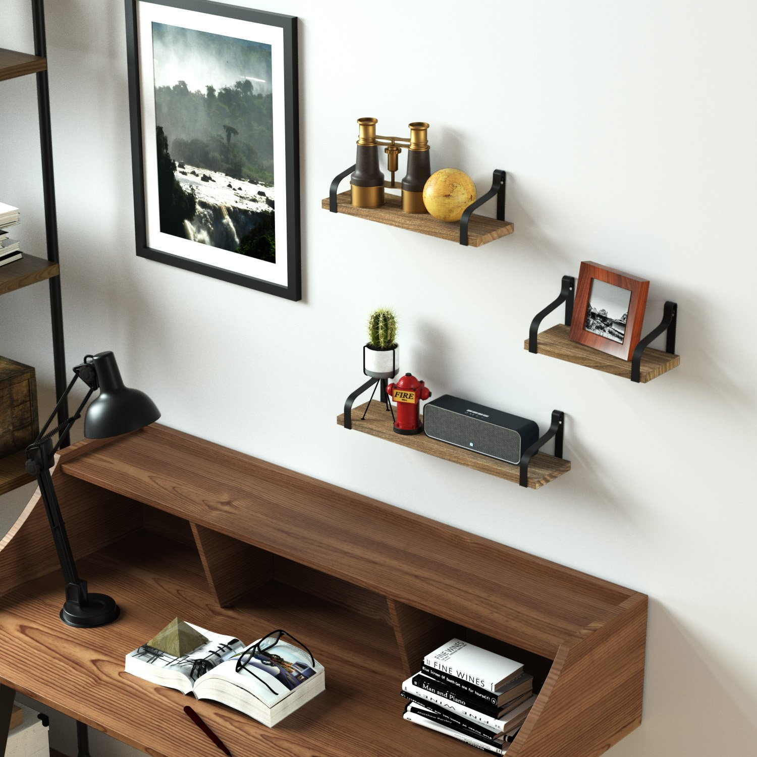 Love-KANKEI Floating Shelves Wall Mounted Set of 3, Rustic Wood Wall Storage Shelves for Bedroom, Living Room, Bathroom, Kitchen, Office and More by Love-KANKEI (Image #3)