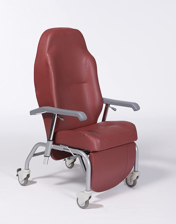 SILLON GERIATRICO color rojo, incluye kit opcional cuatro ruedas. Reclinable 45º.
