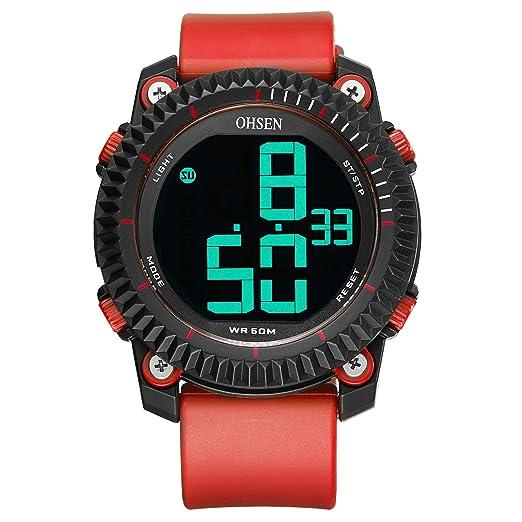 ZHANGZZ Relojes Deportivos Digitales Reloj Deportivo Deportivo de Silicona al Aire Libre 1710 para Hombre (