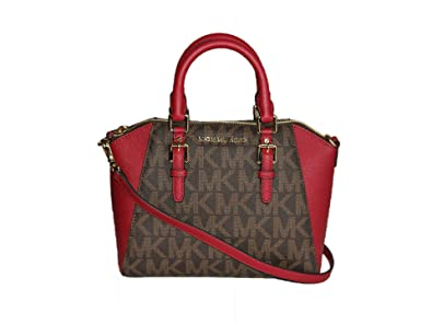 130ebff4734d Image Unavailable. Image not available for. Color  Michael Kors Signature  Ciara Medium Leather Luggage Satchel Brown Cherry