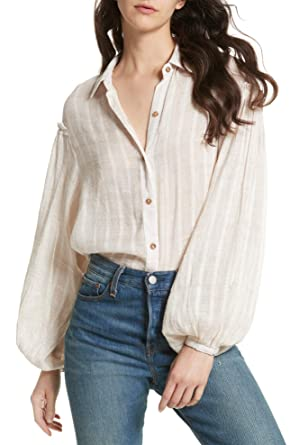 Free People Womens Headed To The Highland Semi Sheer Button Down Top