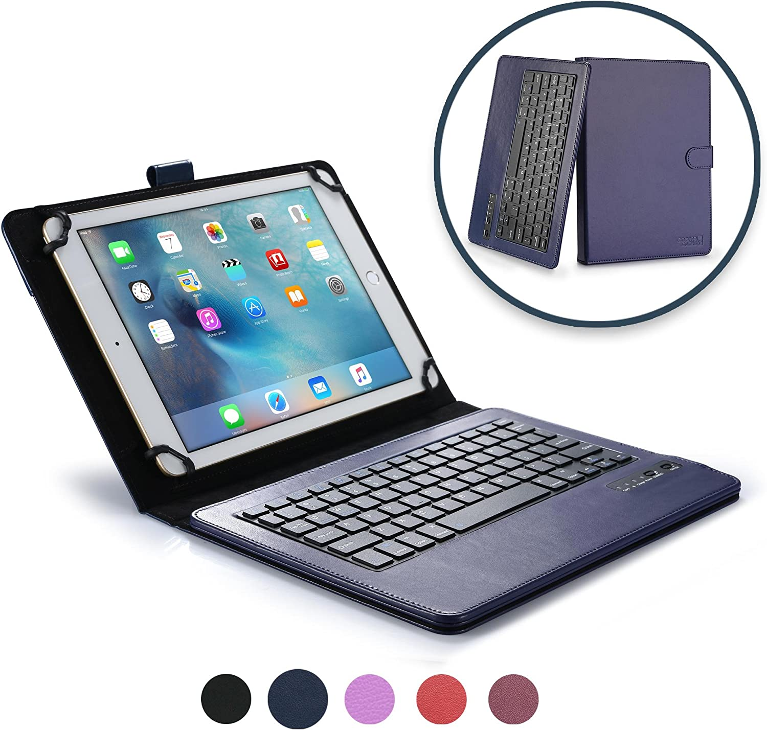 Cooper Infinite Executive Keyboard Case for 9'', 10'', 10.1'' Tablets | 2-in-1 Bluetooth Wireless Keyboard & Leather Folio Cover (Dark Blue)