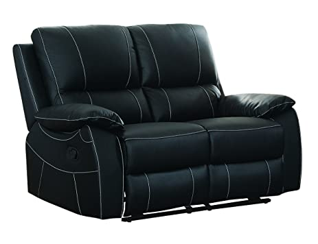 Homelegance Greeley Reclining Loveseat Top Grain Leather Match Black  sc 1 st  Amazon.com & Amazon.com: Homelegance Greeley Reclining Loveseat Top Grain ... islam-shia.org