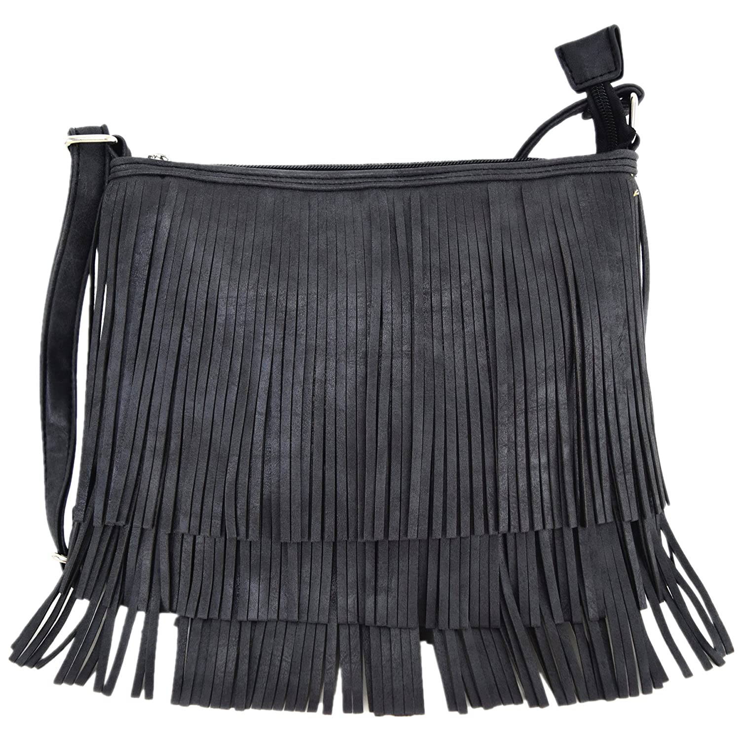 Western Cowgirl Style Fringe Cross Body Handbags Concealed Carry Purse  Country Women Single Shoulder Bags (Black)  Handbags  Amazon.com b2b15b2c74fa2