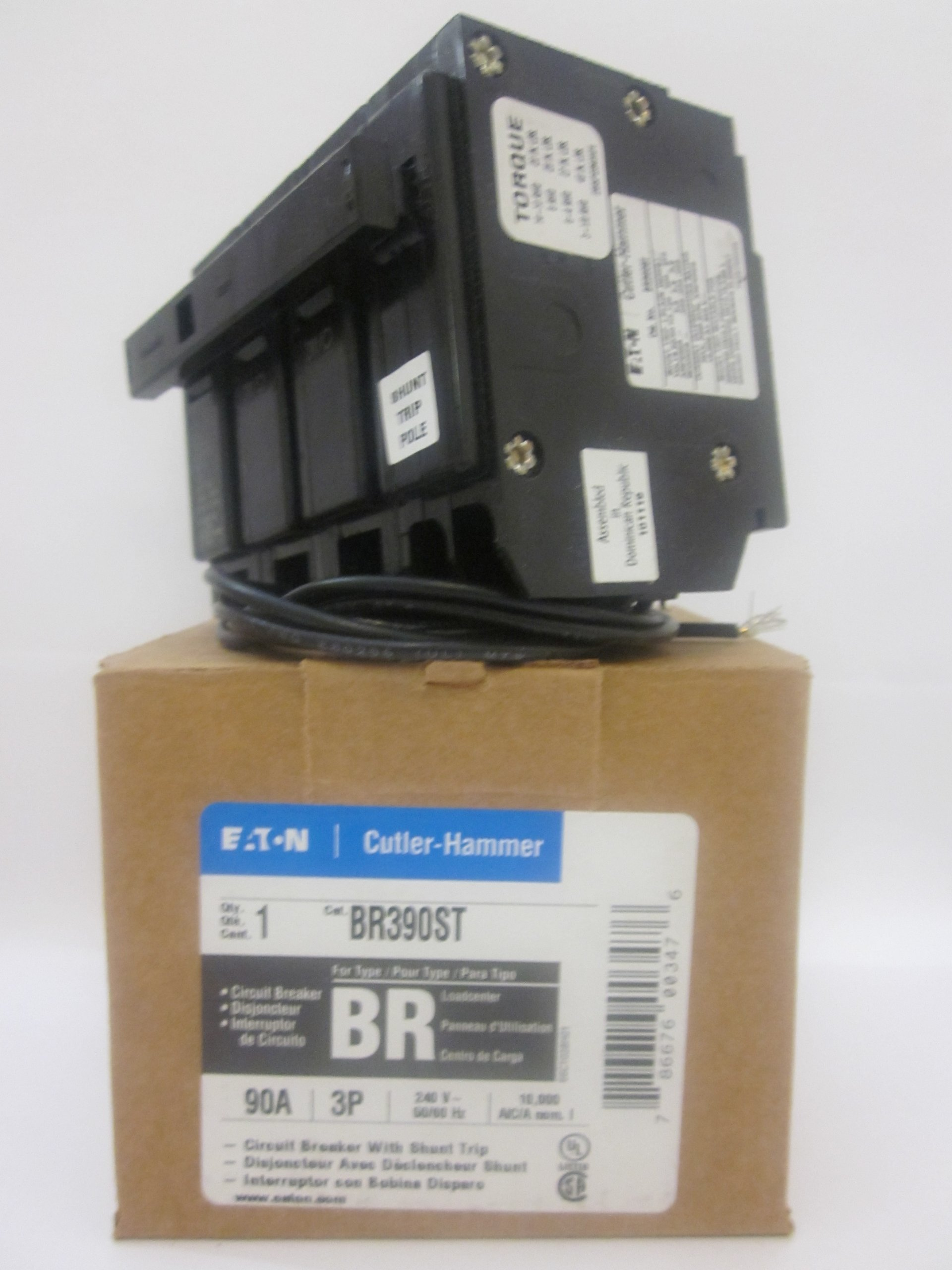 Cutler Hammer br390st Circuit Breaker, 3-Pole 90-Amp with shunt trip