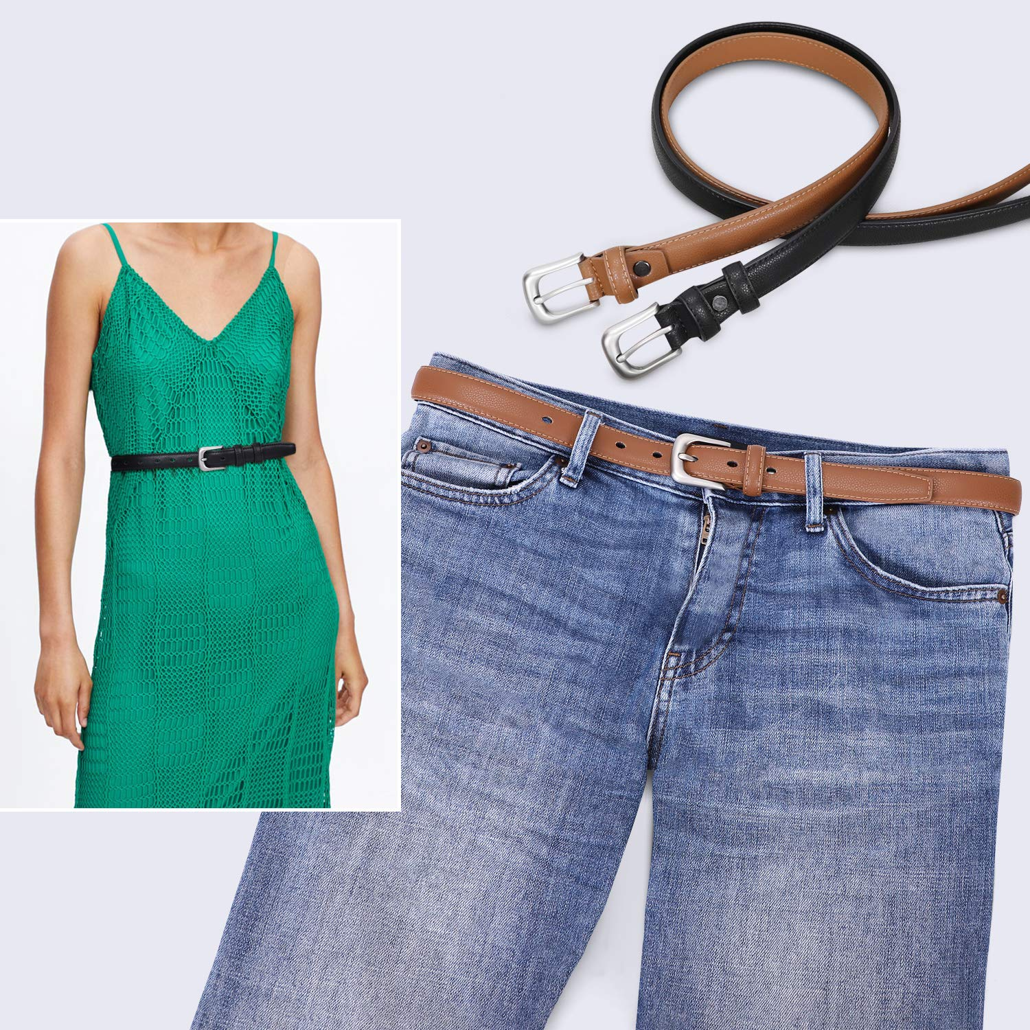 Women Skinny Leather Belt Waist Jeans Pin Buckle Belt for Pants Dresses by Whippy