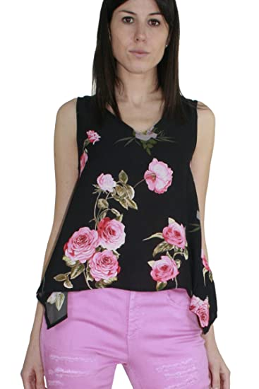 a24191ce462023 KAOS Women s Asymmetric Sleeveless Blouse Black Fantasia Floreale - Black -  UK 10.5