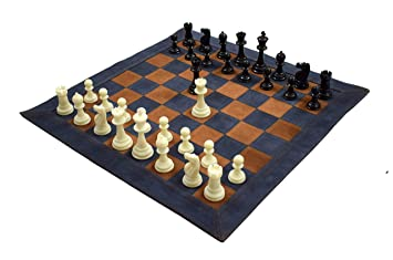 Wigano 19X19 Vintage Roll-Up Pure Leather Tournament Chess Set with Two Extra Queens and Pouch, Blue