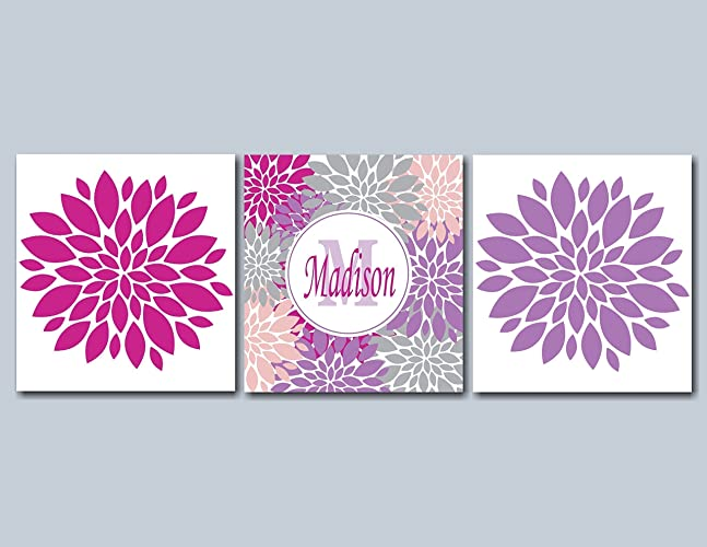 Amazon.com: Purple Gray Wall Art, Purple Pink Floral Wall ...
