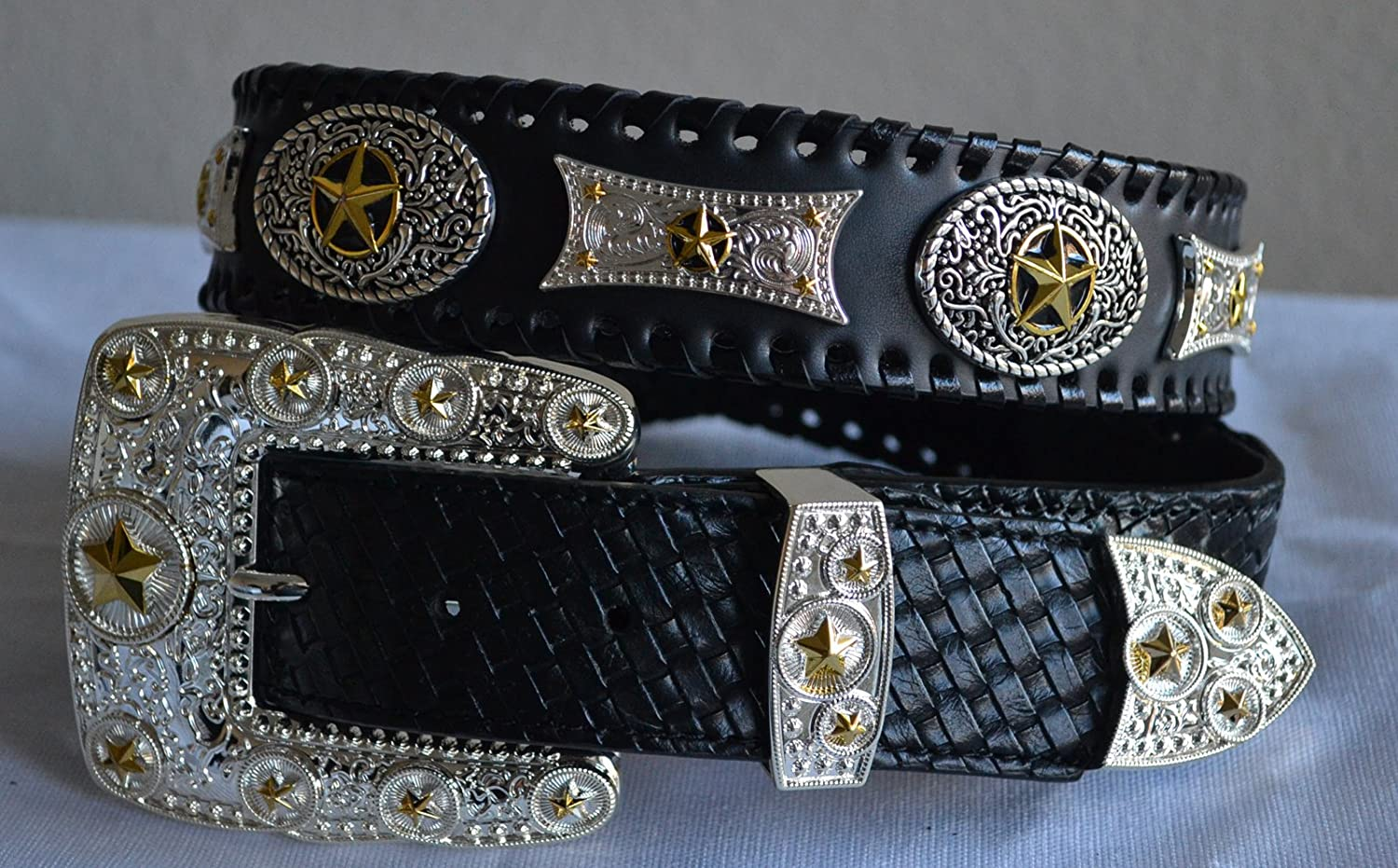 Brown western texas star golden rodeo show buckle belt leather M L XL