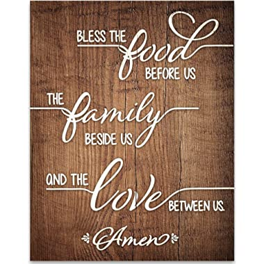 Bless The Food Before Us - Prayer - 11x14 Unframed Typography Art Print - Great Kitchen and Dining Room Decor Under $15 (Printed on Paper, Not Wood)
