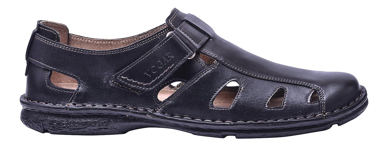 Vogar Hombre Sandalias Cuero Verano Zapatos Playa VG4909 EU 45 / 30.6 cm|Negro