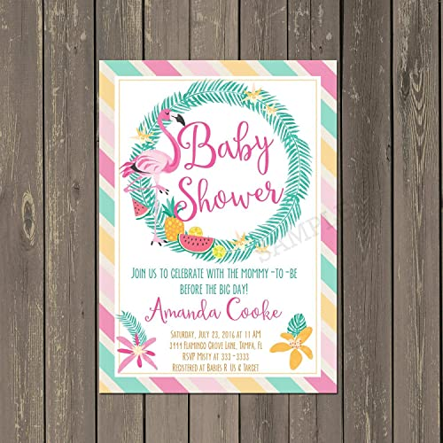Pink Flamingo Baby Shower Invitation With Tropical Flowers, Set Of 10  Invitations With White Envelopes