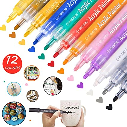 12 Pcs Acrylic Paint Marker Pens Acrylic Paint Pens For Stone Rocks Wood Metal Glass Plastic Canvas And Ceramic Works On Almost All Surfaces
